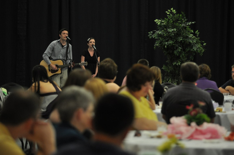 SGA hosts Senior Pinning in the LYCC on April 1st, 2012. Family and friends of the seniors came to show their love and support for their seniors. Jake Willis and Chelsea Hathaway perform a hymn.