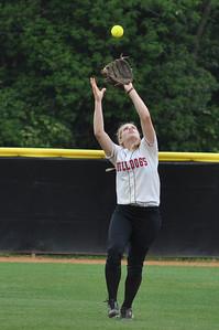 Samantha Meenaghan fields the ball vs Charleston Southern on April 21, 2012.
