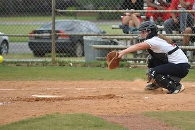 McKenzie Morenus catches vs Charleston Southern on April 21, 2012.