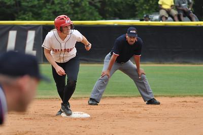 Samantha Meenaghan heads for third base vs Charleston Southern on April 21, 2012.