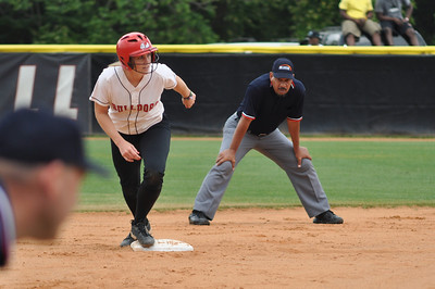 Samantha Meenaghan heads for third base vs Charleston Southern on April 21, 2012.