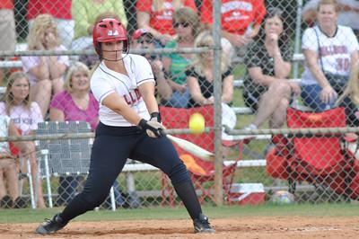 Lindsea Hutchinson bats vs Charleston Southern on April 21, 2012.