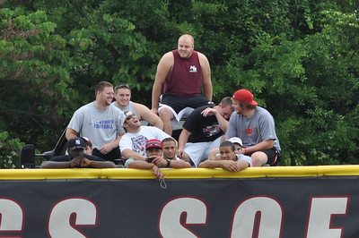 Fans at watching over the back fence vs Charleston Southern on April 21, 2012.
