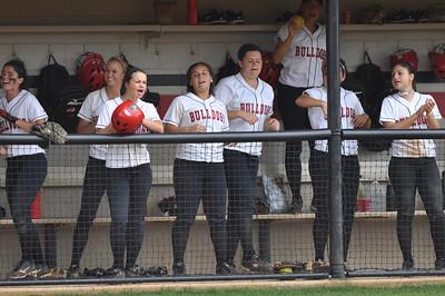 GWU softball girls cheer on theri team vs Charleston Southern on April 21, 2012.