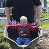 Tribune-Star/Jim Avelis<br /> He ain't heavy: Jeriah Threlfall wheels his son Preston along a path at the ISU Community Garden early Saturday afternoon. Saturday was a learning day as well as day for breaking ground and setting early plants in the ground.