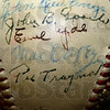Tribune-Star/Jim Avelis<br /> Signed: Max Carey's signature is on this baseball signed by several of the members of the 1925 Pittsburgh Pirates World Series Championship team. The ball is from a 1951 reunion that Vic Aldridge attended.