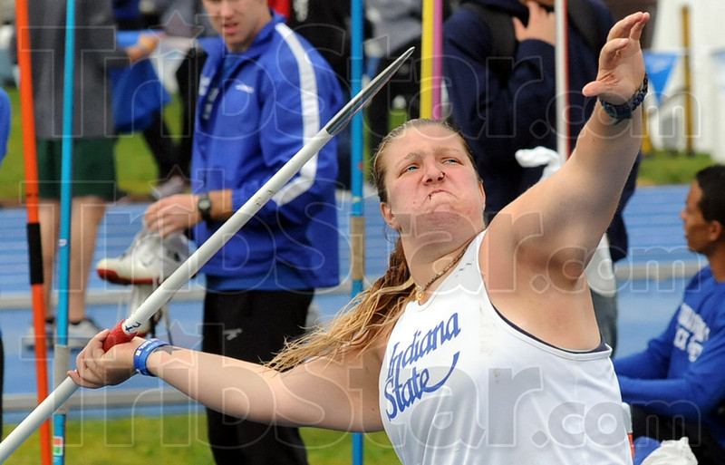 Blast-off: Indiana State University senior Tara Perido launches her javelin 38.15 meters to win the competition at Marks Field Saturday afternoon.