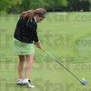 Tribune-Star/Jim Avelis<br /> Driven: Indiana State University golfer Gina Della Camera hits a drive during a practice session last week, getting ready for the Missouri Valley Tournament.