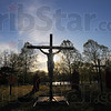 "Tribune-Star/Jim Avelis<br /> Redemption: Christ hangs on the cross in the re-enactment of the death of the Son of God in ""Passion in the Park"".  The non-denominational event continues this evening."