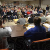 Tribune-Star/Jim Avelis<br /> Full house: The Vigo County Area Planning Board had a full house Wednesday evening. Over a hundred people attended the meeting, many interested in voicing their opinion regarding mineral exploration zoning east of Terre Haute.