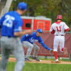 Tribune-Star/Jim Avelis<br /> Safe: Indiana base runner Will Nolden(11) is safe at first after Indiana State first baseman Jon Hedges can't come up with a throw from pitcher Kyle Rupe.