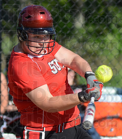 Tribune-Star/Jim Avelis<br /> Multiple hits: Terre Haute South first baseman Mackenzie McGregor had a big day at the plate for the lady Braves.