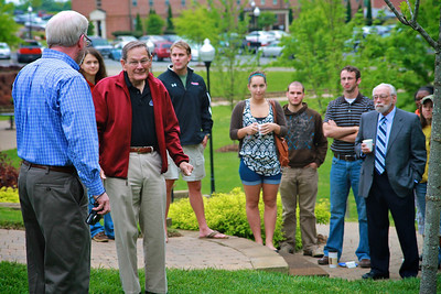 A White Ash tree planted behind social science building Frank Nanney Hall in recognition of Dr. Tony Eastman and his years of service to the university.