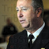 Swearing-in: Terre Haute Fire Chief Jeff Fisher talks with news media after Monday's swearing-in ceremony at City Hall.
