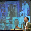 Tribune-Star/Joseph C. Garza<br /> The background of integration: Adrian Burgos, professor of history at the University of Illinois, discusses how Latino ballplayers were integrated into major league baseball during his presentation Monday on the Indiana State University campus.
