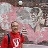 "Tribune-Star/Joseph C. Garza<br /> Lasting last memories: One of the last memories of the late Matt Branam that senior Hobey Tam has of him is of Branam laughing which is why he included the image on the memorial mural on the Rose-Hulman campus. ""These three images represent Matt pretty well, "" said Tam as he worked on the mural Wednesday."