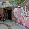 Tribune-Star/Joseph C. Garza<br /> Art engineered from the heart: Rose-Hulman students walk past the mural created by fellow student Hobey Tam Wednesday on the engineering school's campus.