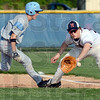 Back in time: Terre Haute North first baseman #31, Sam Wolf waits for an incoming throw of a pick-off attempt as a Shakamak base runner scrambles safely back to the bag Monday evening.