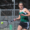 Tribune-Star/Jim Avelis<br /> Happy returns: West Vigo #1 tennis player Abby Williams eyes a return shot in her match with Terre Haute North's Anna Potter.