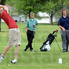 Tribune-Star/Jim Avelis<br /> Medalist: Terre Haute South's Luke Peoples was the medalist in the county golf match Tuesday afternoon at Rea park. Watching him drive from the #2 tee are West Vigo's Nick Leek and Terre Haute North's Sam Pollock.