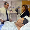 Tribune-Star/Joseph C. Garza<br /> Educating the local work force: U.S. Senate candidate Joe Donnelly talks with Ivy Tech Community College Wabash Valley Dean of Nursing Kim Cooper about the higher education opportunities offered in the department during a tour Tuesday at the school.