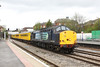 30 April 2012 :: Network Rail test train 1Q13, heading away from Newbury station T & T with 37259 & 37604