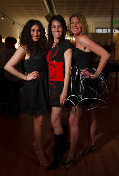 "Jenny Salimi, Leah DiMarco, and Amy Thatcher.  ""The Art of Mixology,"" benefiting Culturehaus, at the Artwork Network in Denver, Colorado, on Saturday, April 7, 2012.<br /> Photo Steve Peterson"