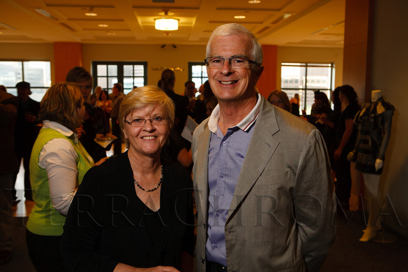 "Shirley Amore (City Librarian) and Kevin O'Connor (president of the DPL Commission).  ""Frock Out 3:  Come Undone,"" a fashion designer event benefiting the Denver Public Library's Fresh City Life programs, at the Denver Public Library system's Central Library in Denver, Colorado, on Thursday, April 19, 2012.<br /> Photo Steve Peterson"