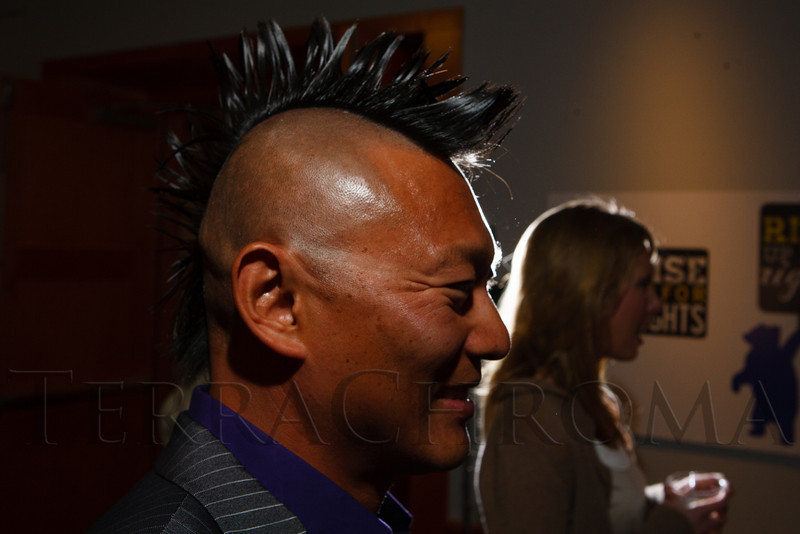 "Christopher Bauer and his spiky hair.  ""Frock Out 3:  Come Undone,"" a fashion designer event benefiting the Denver Public Library's Fresh City Life programs, at the Denver Public Library system's Central Library in Denver, Colorado, on Thursday, April 19, 2012.<br /> Photo Steve Peterson"