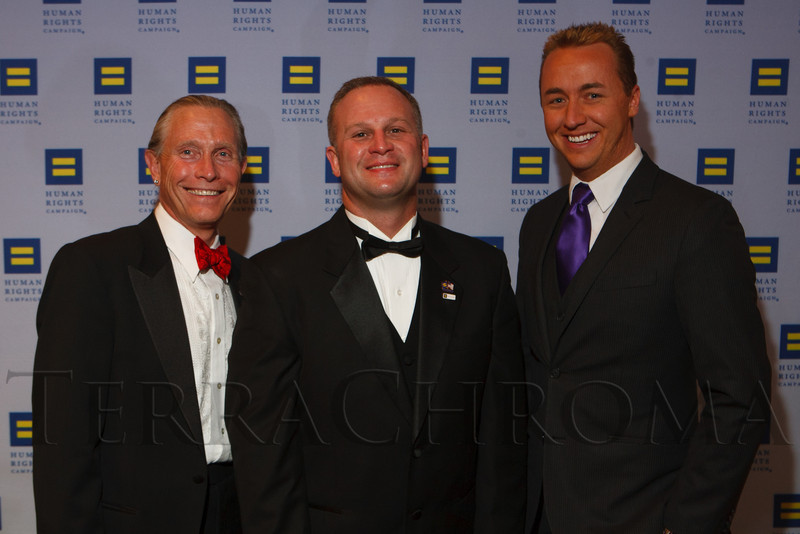 Lawrence French, Brian Stranghoner, and Greg Greenhalge.  The 2012 HRC Mile High Gala, benefiting Human Rights Campaign Colorado, at the Grand Hyatt Denver in Denver, Colorado, on Saturday, April 21, 2012.<br /> Photo Steve Peterson
