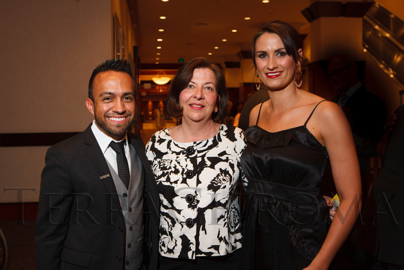 David Casados, Evelyn Poulo (cq), and Sarah April.  The 2012 HRC Mile High Gala, benefiting Human Rights Campaign Colorado, at the Grand Hyatt Denver in Denver, Colorado, on Saturday, April 21, 2012.<br /> Photo Steve Peterson