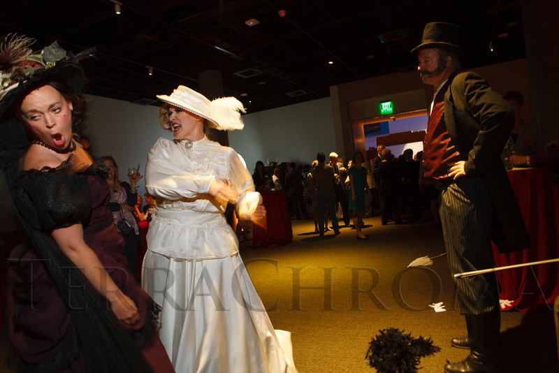 Kate Fulton (Princess DeJaynes) and Mattie Silks (Misha Johnson) have a fight, observed by Cortez Thomson (Paul Borrillo).  The History Colorado Grand Opening Celebration at the History Colorado Center in Denver, Colorado, on Wednesday, April 25, 2012.<br /> Photo Steve Peterson