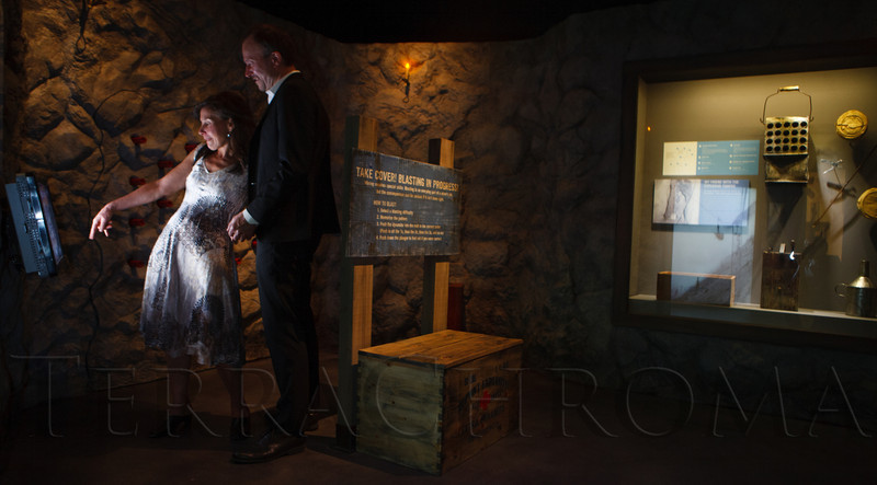 Jill Singer and Harry West in a mining exhibit.  The History Colorado Grand Opening Celebration at the History Colorado Center in Denver, Colorado, on Wednesday, April 25, 2012.<br /> Photo Steve Peterson
