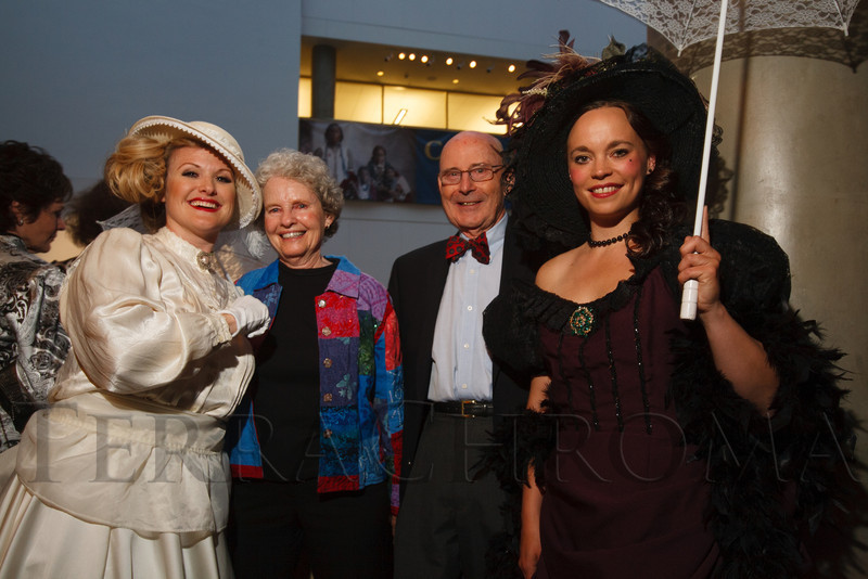 Princess DeJaynes as Mattie Silks, Martha and Charles Hansen, and Misha Johnson as Kate Fulton.  The History Colorado Grand Opening Celebration at the History Colorado Center in Denver, Colorado, on Wednesday, April 25, 2012.<br /> Photo Steve Peterson