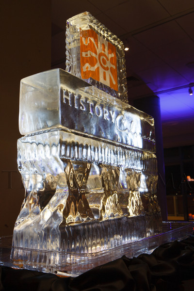 Ice sculpture.  The History Colorado Grand Opening Celebration at the History Colorado Center in Denver, Colorado, on Wednesday, April 25, 2012.<br /> Photo Steve Peterson