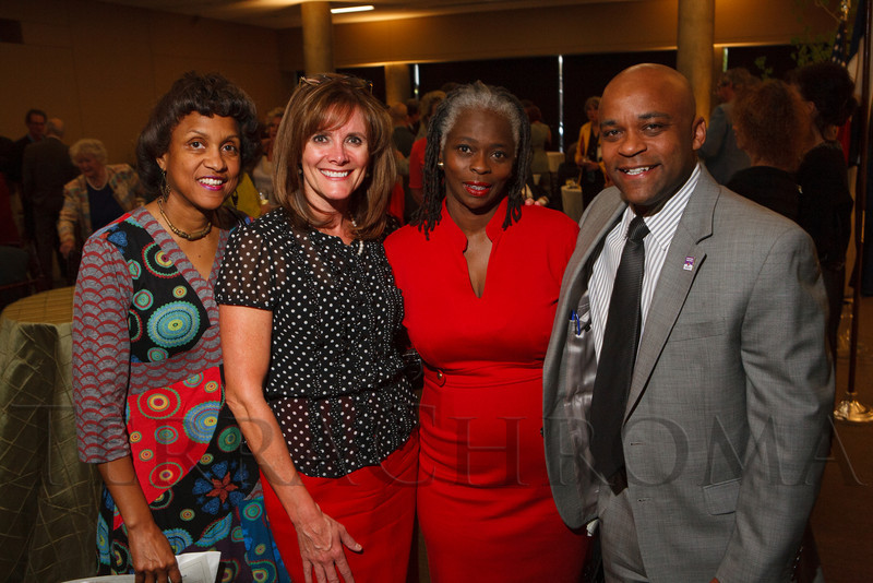 Terri Richardson, Karen Price, Thelma Craig, and Mayor Michael Hancock.  The History Colorado Grand Opening Celebration at the History Colorado Center in Denver, Colorado, on Wednesday, April 25, 2012.<br /> Photo Steve Peterson