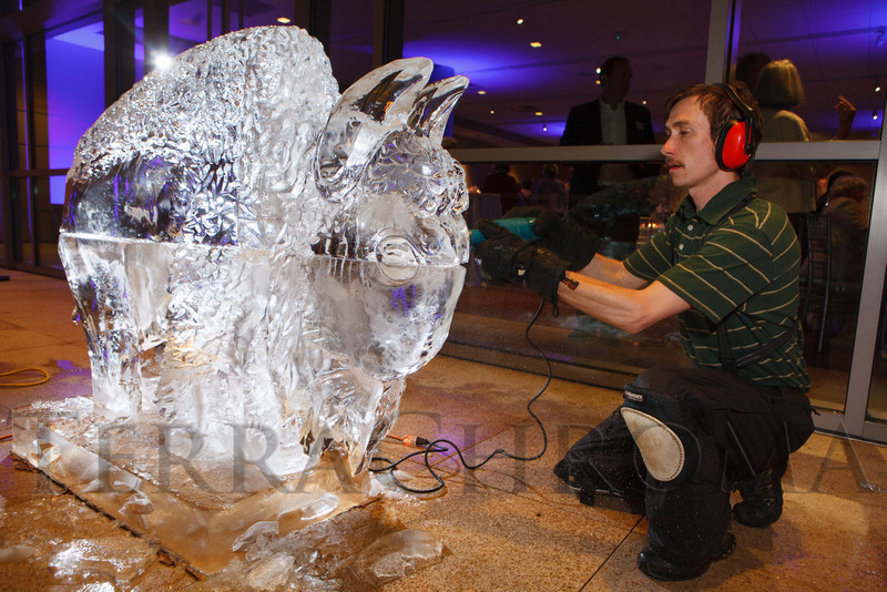Adam Buehler with Colorado Ice Sculptures.  The History Colorado Grand Opening Celebration at the History Colorado Center in Denver, Colorado, on Wednesday, April 25, 2012.<br /> Photo Steve Peterson