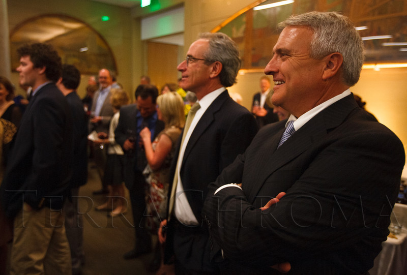 Bill Mosher and former Governor Bill Ritter.  The History Colorado Grand Opening Celebration at the History Colorado Center in Denver, Colorado, on Wednesday, April 25, 2012.<br /> Photo Steve Peterson