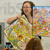 Tribune-Star/Joseph C. Garza<br /> Like Candyland: Joan Knies of the Crisis Connection compares the different generations of Candyland to the different responses to bullying by different generations during her presentation Thursday at the Clay County YMCA in Brazil.