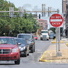Westbound: Westbound traffic on Cherry Street makes a left turn onto 3rd Street Thursday afternoon. The city council is considering making the street two-way.
