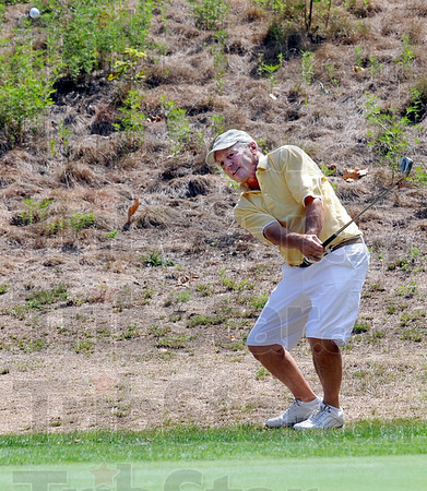 Chip: Ted Kaperak chips to the 8th green at Hulman Links during men's senior action.