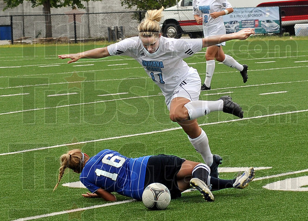 Fly over: Indiana State's #11, Sadie Bauserman flies over a fallen Danielle Bishop during game action at Memorial Stadium Sunday afternoon.