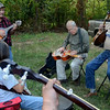 Pickers: A group of instrumentalists play together as they wait their turn to perform during Satuday's Bllue Grass Festival.
