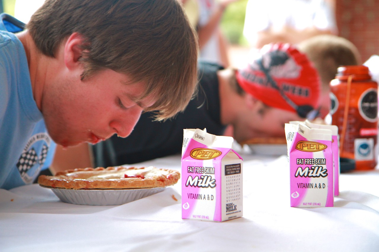 Students enjoy pie tasting, eating competitions, and pieing Dr. Bonner, Dr. Hunt, and Dr. Jones.