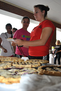 Students taking advantage of the free pie.