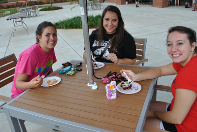students enjoying pie.