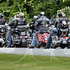 Backup: Hundreds of motorcycles  wait in line to get into the Shakamak State Park for lunch Friday afternoon. The group is part of the annual Governor's Ride.