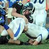Sack: West Vigo's #50 Joshua Beasley sacks North Vermillion's quarterback during scrimmage action Friday night.