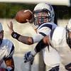 Tribune-Star/Joseph C. Garza<br /> Terre Haute North quarterback Chris Barrett II aims for an open receiver during the Patriots' game against South Friday at Memorial Stadium.