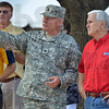 The idea behind it: Staff Sgt. Les Newport of the Indiana National Guard describes to Congressman Mike Pence how the display created to thank the citizens of Indiana for their support came to be Friday at the Indiana State Fair in Indianapolis.